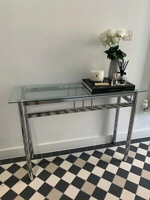 Modern Silver Stainless Steel Metal Clear Glass Top Console Side Hall Table  • 49.99£