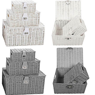 Set Of 3 Wicker Baskets Storage Resin Woven Hamper Gift Box W/Lid&Lock 3 Size • 13.59£