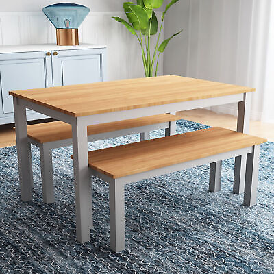 Wooden Dining Table & 2 Bench Chairs 4 Seat -Garden Patio Restaurant Furniture • 129£
