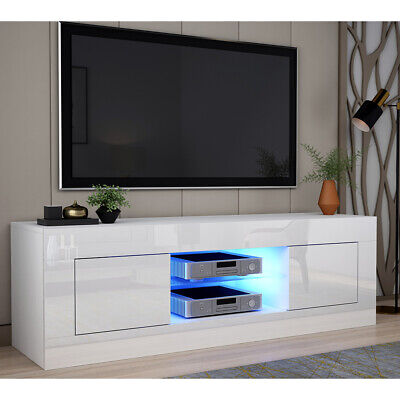 Modern 125cm TV Stand Unit Cabinet High Gloss Doors & Glass Shelf & RGB Light • 89.99£
