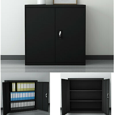 Metal Filing Cabinet Steel Office Home Storage Lockable Cupboard W/Key -Black • 84.90£