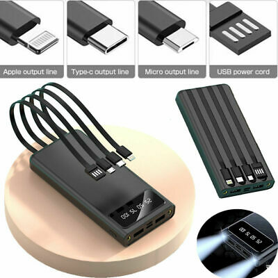 AU22.99 • Buy 900000mah Power Bank Mirco USB+Type C+Lightning Output Charger For Mobile Phone