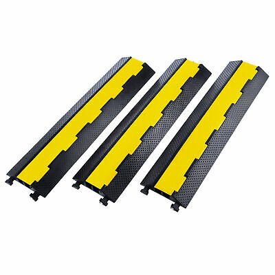 3 Pack Rubber Cable Ramp Protector Ramp 2 Channel 5T/11000Lbs Load Hose Cable • 39.99£