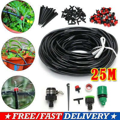 25M/82FT Micro Drip Irrigation Watering Automatic Garden Plant Greenhouse System • 12.99£