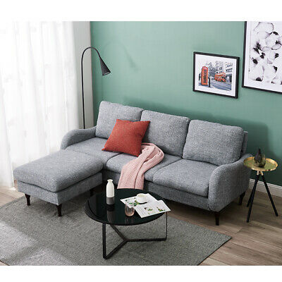 3 Seater Velvet/Linen Corner Sofa Armchair With Left Or Right Hand Footstool • 249.99£