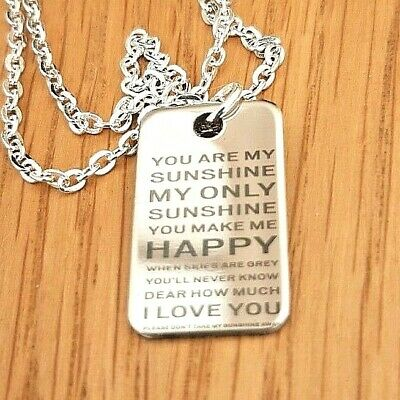 Stainless Steel You Are My Sunshine Oblong Pendant & 16  Silver Chain Necklace • 3.25£