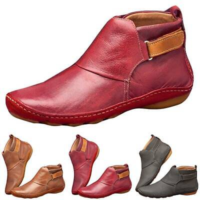 Women Arch Support Ankle Boots Ladies Flat Heel Zip Slip Casual Shoes Size 3.5-8 • 12.06£