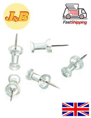 Clear Push Pins Transparent Pins Drawing Notice Board Cork Board Office School • 2.29£