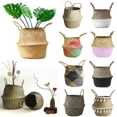 Foldable Woven Seagrass Belly Basket Plant Flower Storage Straw Pot Home Decor • 12.63£