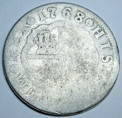 $ CDN79.09 • Buy 1768/7 Spanish Silver 2 Reales Antique 1700s Colonial Cross Two Bits Pirate Coin