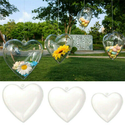 5/10X Clear Balls Heart Baubles Sphere Fillable Box DIY Christmas Tree Ornament • 9.59£