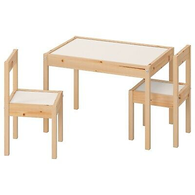Ikea LATT Children's Table With 2 Chairs Wooden Pine Wood Kids Furniture Set New • 36.50£