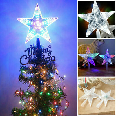 Star LED Light Christmas Tree Topper Party Ornament Battery Operated Xmas Decor • 5.99£