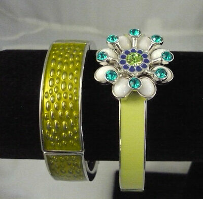 $ CDN23.99 • Buy Lot 2 Signed Lia Sophia Green Enamel Bracelets Rhinestone Flower Accent Piece