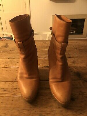 Chloe Wedge Ankle Boots Tan Leather - Size 5 (EU 38) • 35£
