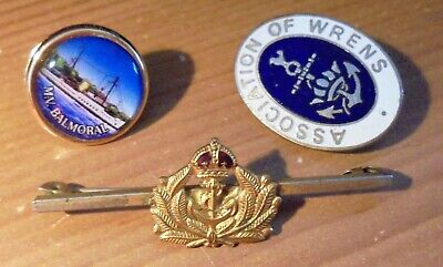 3 Navy Badges/Brooches RN, WRNS, MN/MV • 7.53£