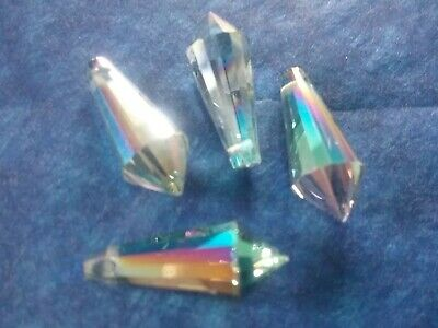 4  Crystal Cut Glass Teardrop Beads 8 X 20mm Peacock Sparkle Colour • 0.22£