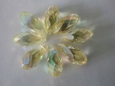 9  Crystal Cut Glass Teardrop Beads 8 X 18mm Beautiful  Lemon Yellow • 0.38£