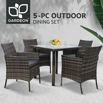 AU529.95 • Buy Outdoor Dining Set Patio Furniture Wicker Garden Setting Table Dining Chair 5PCS