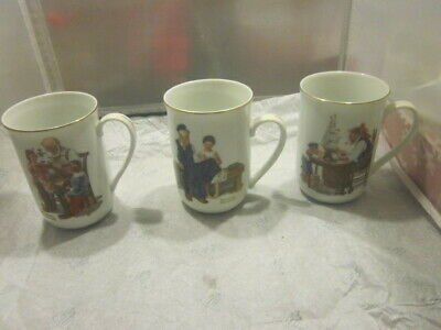 $ CDN1.31 • Buy VINTAGE Set Of 3 Norman Rockwell Museum Porcelain Coffee Tea Mugs Cups 1982