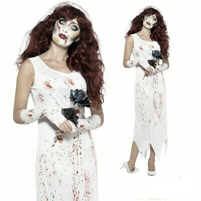 Adults Zombie Bride Costume - Fancy Dress Outfit Halloween Horror Womens • 10.95£