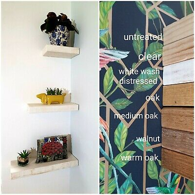 £0.99 • Buy Set Of Floating Shelves Chunky Rustic Wooden Display Shelf Small Wall Storage