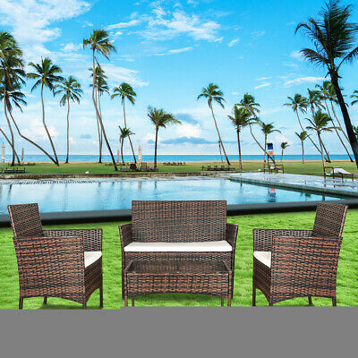 Cube Rattan Garden Furniture Set Chairs Sofa Table Outdoor Patio Wicker 4 Seater • 23£
