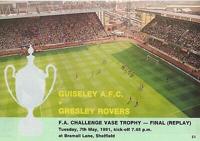 Guiseley AFC V Gresley Rovers 1990-91 FA Vase Final Replay - Football Programme • 3.50£