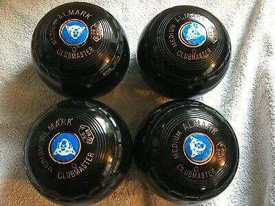 ALMARK CLUBMASTER Bowls Set Of 4 Size 0 Medium Nice Condition With Carry Bag • 69.99£