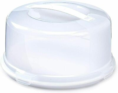 Plastic Round Cake Box Carrier Storage Container Clear Lockable Lid Cover 33cm • 10.95£