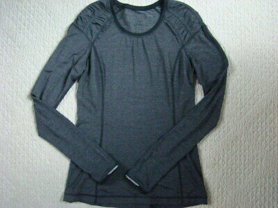 $ CDN13.32 • Buy LULULEMON Women's 6 BLACK Heathered GRAY Ruffle LONG SLEEVE Top Shirt EUC