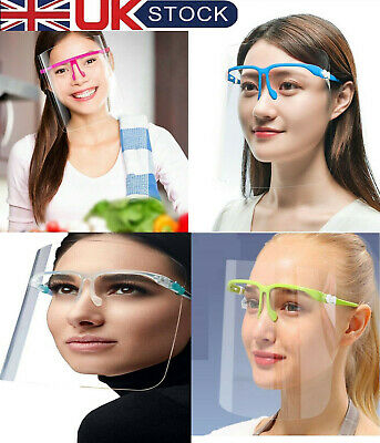 Face Shield With Glasses Glass Visor Masks Ppe Shield Transparent Clear Plastic • 7.75£