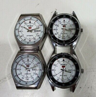 $ CDN187.69 • Buy Job Lot Of 4 Pcs Seiko 5 Automatic Wrist Watches In Working Conditions