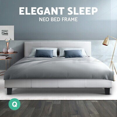 AU169.90 • Buy Bed Frame Queen Size Base Mattress Platform Full Size Leather Wooden White NEO