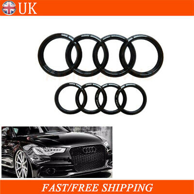 £18.95 • Buy Set Black Gloss Front & Rear Grille Badge Rings Logo Emblem For Audi A3 A4 A5 A6