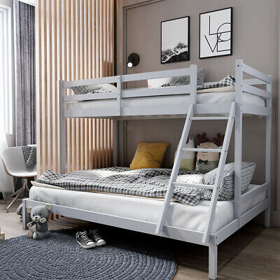 £168.95 • Buy Triple Bunk Beds Double Bed With Stairs For Kids Children Grey Wooden Bed Frame