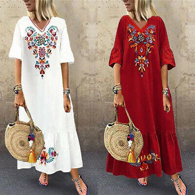 AU17.99 • Buy ZANZEA Women Summer Maxi Sundress Gown Holiday Beach Club Party Floral Dress