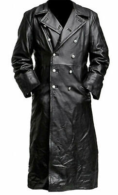 Mens German Classic Ww2 Officer Military Uniform Black Leather Trench Coat • 9.99£