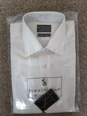 New Lingwood Sandwashed Silk Shirt Classic Collar 15 Double French Cuff Ivory  • 89.99£