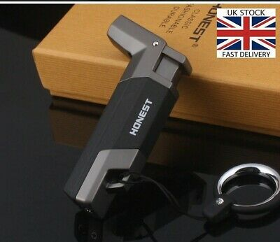 Windproof Lighter Refillable Butane Cigar Cigarette Cooking Jet Flame Torch Gift • 13.95£