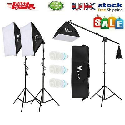 Photography Studio 3x65W Softbox Lighting Stand Photo Video Light Boom Arm Kit • 63.64£