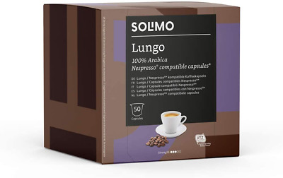 100 X Solimo Nespresso Compatible Lungo Capsules Roast Coffee UTZ Certified 2X50 • 12.89£