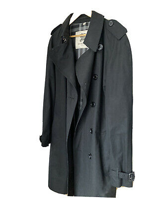 Men's Burberry Trench Coat - Black -Mid Length -Double Breasted • 51£
