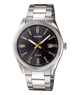 AU52.90 • Buy GENUINE Casio MTP-1302D-1A2 Mens Watch Stainless Steel Classi Analog Black Dial