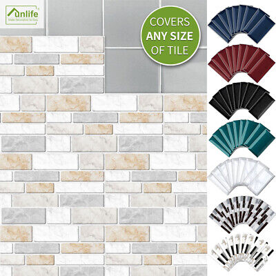 9-90Tiles Kitchen Bathroom Tile Stickers Mosaic Sticker Self-adhesive Wall Decor • 6.99£