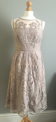 Monsoon Sarah Grace Nude Pink Lace Fitted Dress - UK10 • 18£