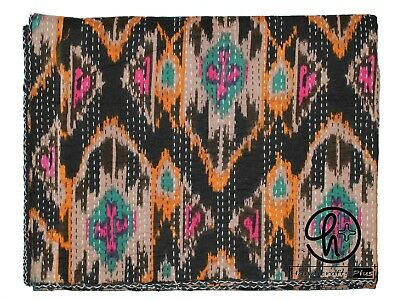 Indian Cotton Kantha Quilt Black Color Blanket King Size Bedspread Throw & Ralli • 38.18£