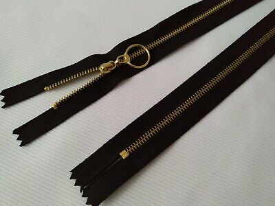 PACK OF 50 BLACK / BRASS METAL ZIPS WITH RING PULL - CLOSED END 46cm (18 INCHES) • 6.99£