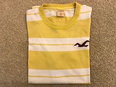 Hollister White Yellow Mens  Boys T-shirt  Size Small S 100% Cotton • 3£