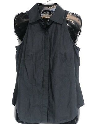 $ CDN25.20 • Buy W By Worth Top Button Front Size 2 Womens Black Sleeveless Shirt